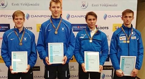 Vasakult: Mart Lättekivi, Märten Mändla, Andris Jahimovics, Peeter Turnau. Foto: vehklemisliit