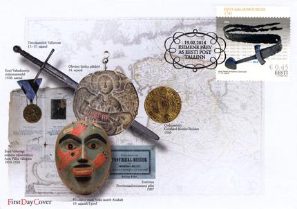 Eesti ajaloomuuseumi 150. sünnipäevaks välja lastud esimese päeva ümbrik ja Maidlast leitud mõõga kujutisega mark. Foto Eesti post