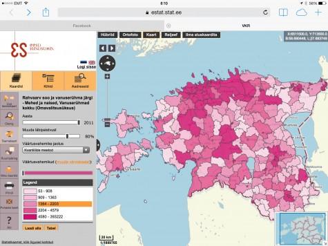 Elanike arv omavalitsuste kaupa. Kaart: Statistikaamet