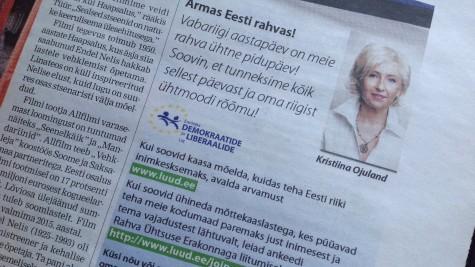 Kristiina Ojulandi uue partei reklaam ilmus Lääne Elus 22. veebruaril.