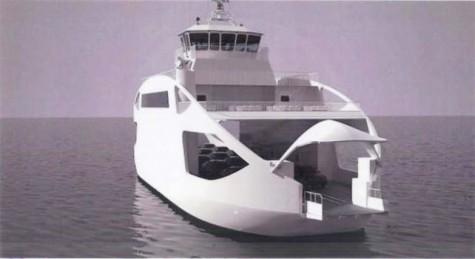 Vormsi uue parvlaeva 3D mudel. Laeva nimeks valiti Ormsö.
