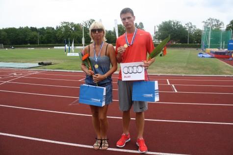10-võistluse võitja Erki Mitman ja treener Kaja Ladva