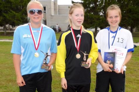 Naiste jalgpalli MV 2014. Vasakult: Ulrika Tülp, suurim väravakütt, Raina Türkel, parim väravavaht, Kai Simson, parim mängija. Enn kerge