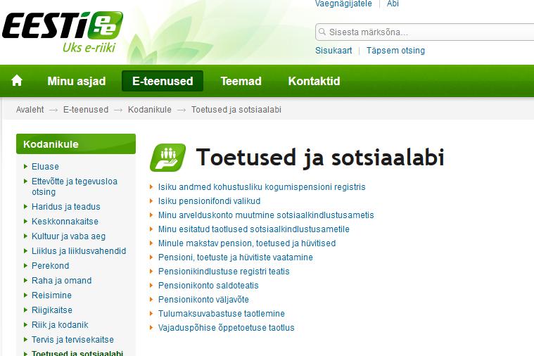 eesti.ee pension