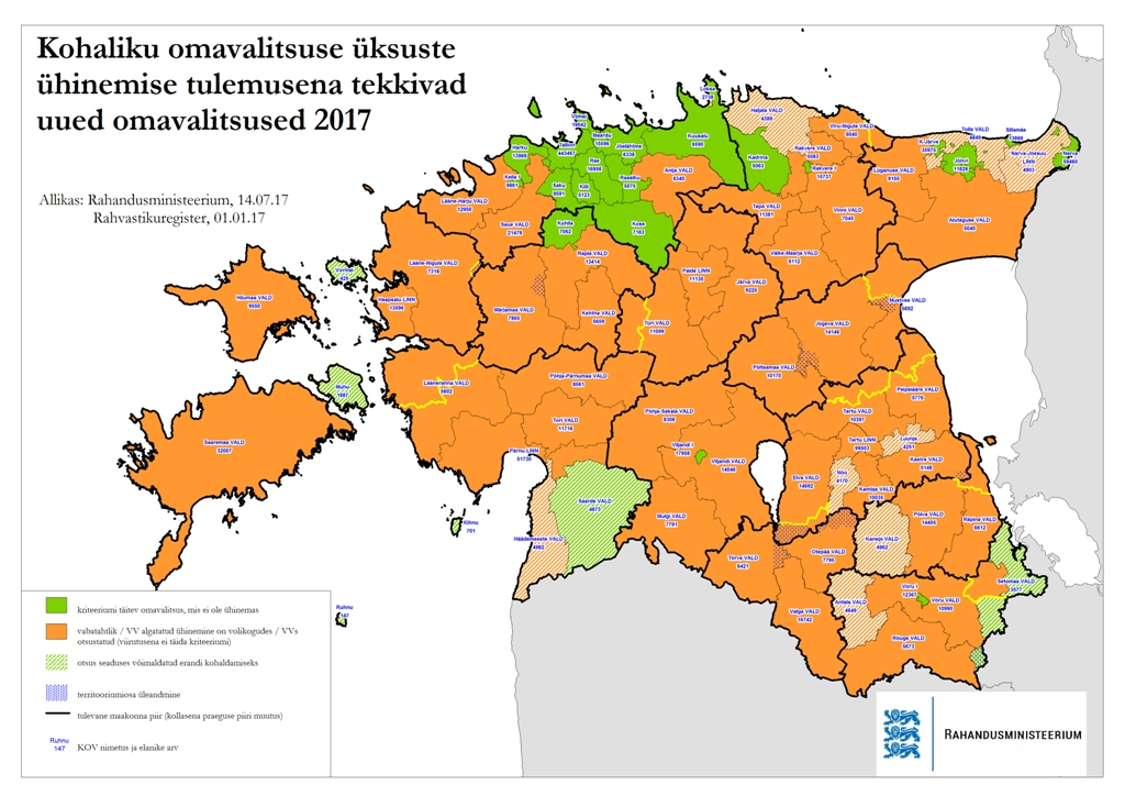 Haldusreform kaart 2017 juuli