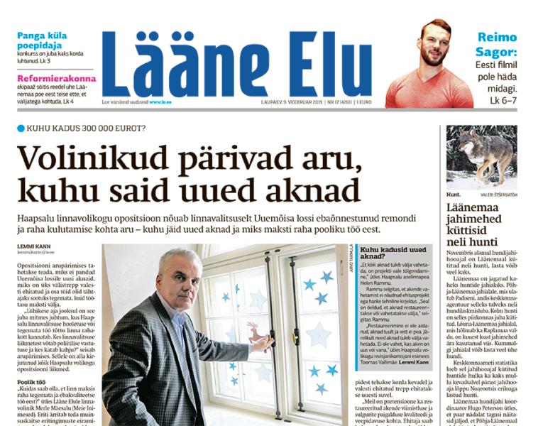ff07586c6d3 Lääne Elu paberleht laupäeval, 9. veebruaril - Uudis.eu
