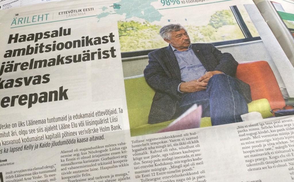715984003d6 Eesti Päevalehe Ärileht kirjutab Haapsalu ettevõtjast Arne Veskest ja tema  vastavatud pangast Veske on edukas ärimeeskes ajab mitut äri, olgu see siis  ...