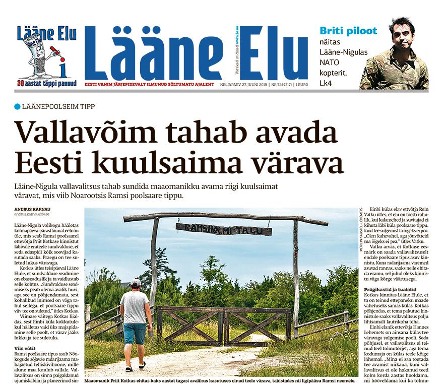 Lääne Elu paberleht neljapäeval, 27. juunil