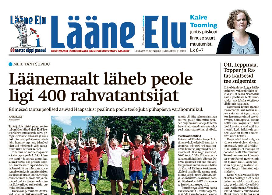 0d4cf13e5ac Lääne Elu paberleht laupäeval, 29. juunil - Uudis.eu